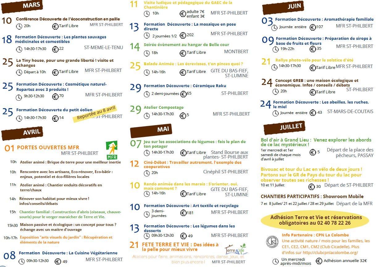 programme des evenement annuels de terre et vie